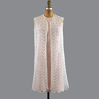 Pink Linen 60s Sheath, Lace Dress