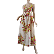 1970s Floral Silk Dress, Maxi Long Empire