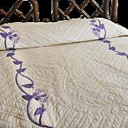 ELEANOR BEARD 1920s Applique Quilt - Purple/Lavender Trumpet Flowers