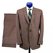 Vintage 1960s Mens Brownish Pinstripe Suit, Mohair Blend 43-44