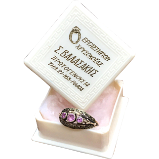 Antique Victorian signed OB Ostby & Barton Jewelry Co. 10k gold ring, green gold and rose gold with three pink stones