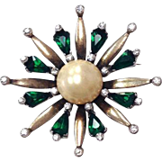 Vintage Signed Sterling Silver 1940s Faux Pearl and Faux Emerald Costume Brooch Pin
