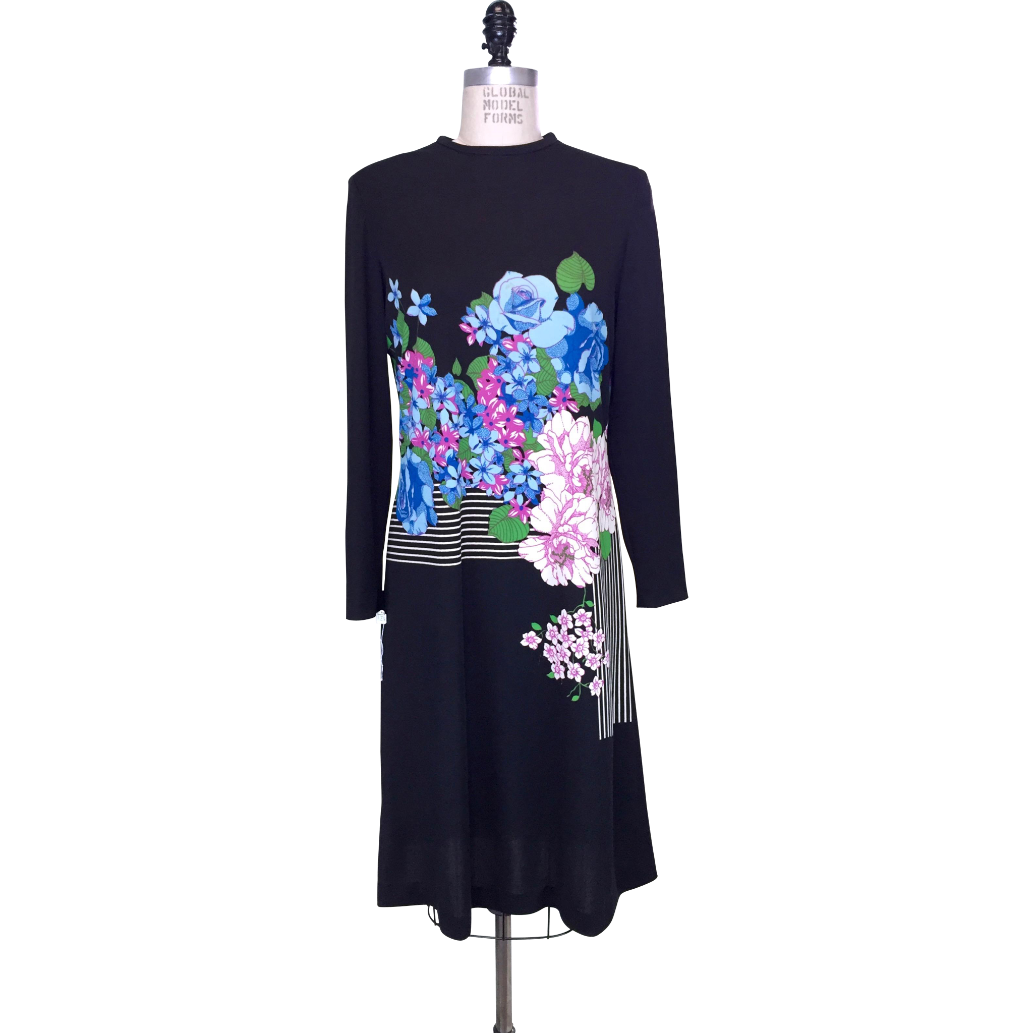 Vintage 1970s Black Jersey Dress with Blue Purple and White Floral Print