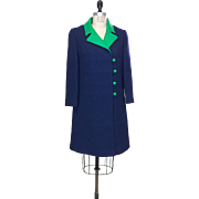 Vintage Navy Blue Wool Tailored Coat with Kelly Green Collar and Buttons
