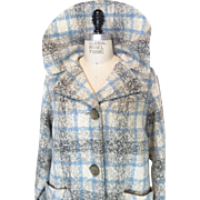 Vintage Sky Blue, Grey and Off White Plaid Wool Jacket with large collar and pockets on the hips