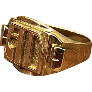"""Antique Vintage 1920s Art Deco rose gold and yellow gold 750 18k gold initial ring """"AD"""""""