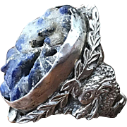Antique Chinese signed sterling silver and carved blue lapis lazuli dragon ring