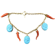 Vintage 18k yellow gold Coral horn and turquoise carved cameo bracelet from Napoli Italy