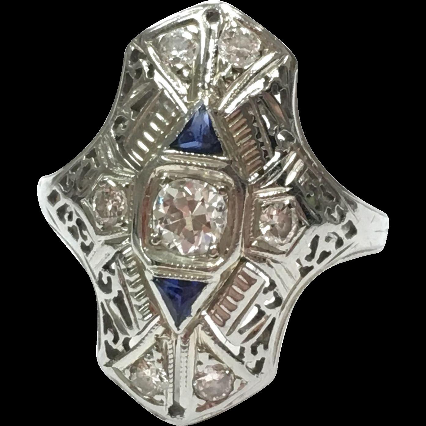 Art Deco 1920s 18K White Gold Diamond and Sapphire Filigree Dinner Ring