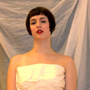 Adele Simpson tea length cream Vintage Strapless Wedding dress