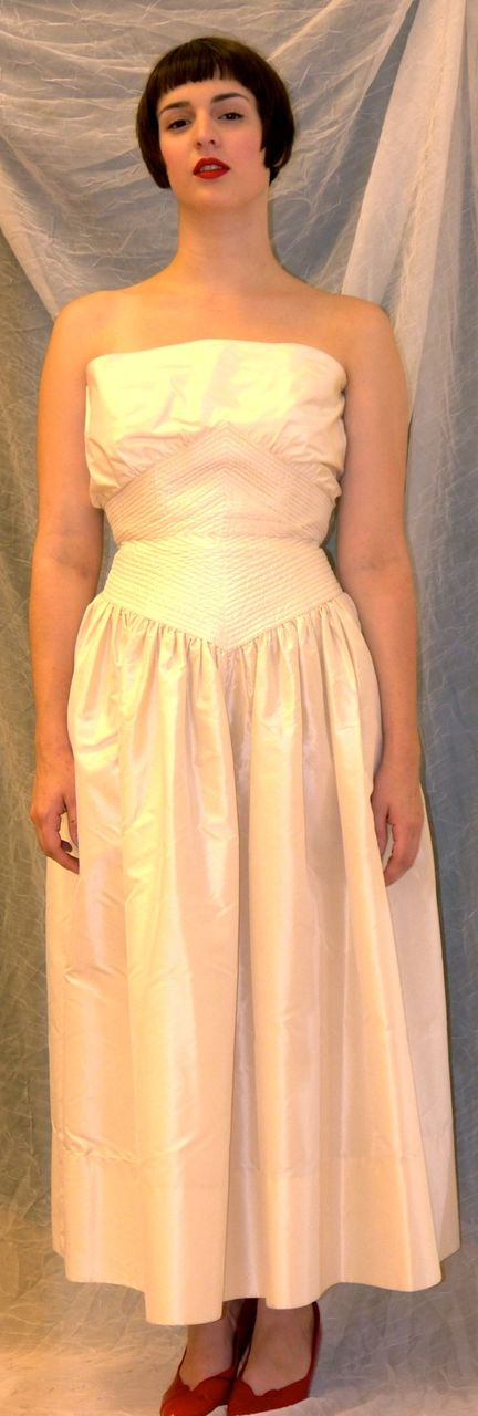 Adele Simpson tea length cream Vintage Strapless Wedding dress