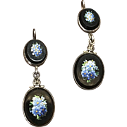 Antique silver Forget-me-not Micro Mosaic and glass pierced earrings