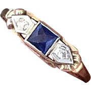 1940s two tone 14k yellow and white gold diamond Sapphire stacking ring