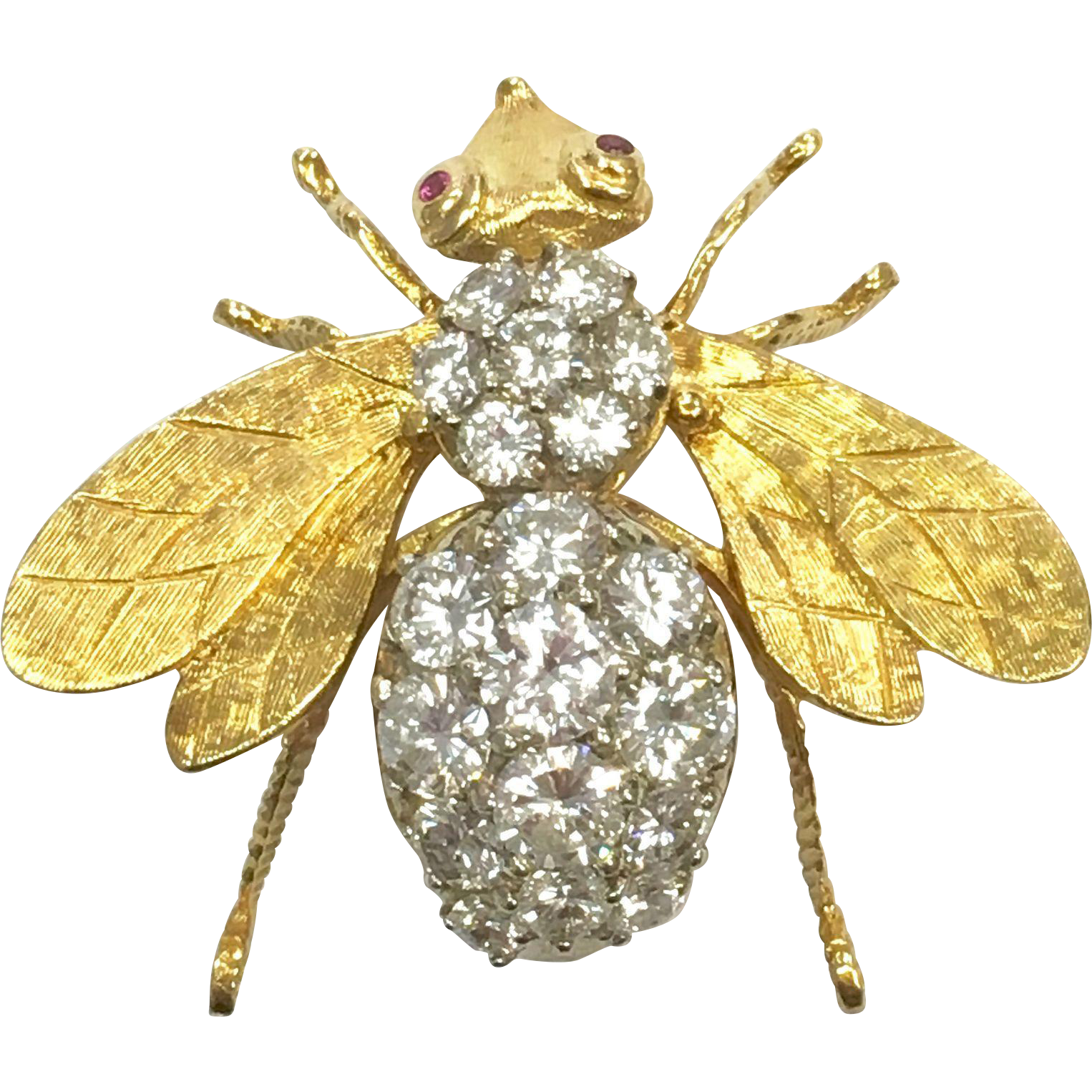Vintage custom made 18 K yellow gold bumblebee pin or pendant with 3.5 carats of diamonds and appraisal