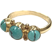 Rare Vintage Georg Jensen 18k yellow gold three stone Turquoise ring
