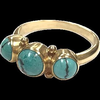 Rare Vintage Georg Jensen 18k yellow gold three stone Turquoise ring