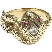 Spectacular Signed Vintage large 14k yellow gold snake ring with diamond and ruby eyes