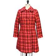 Vintage Bright Red Plaid Wool Dorothy Bullitt Coat