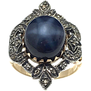 Vintage Lindy star sapphire ring with 10k white and yellow gold and rose cut diamonds