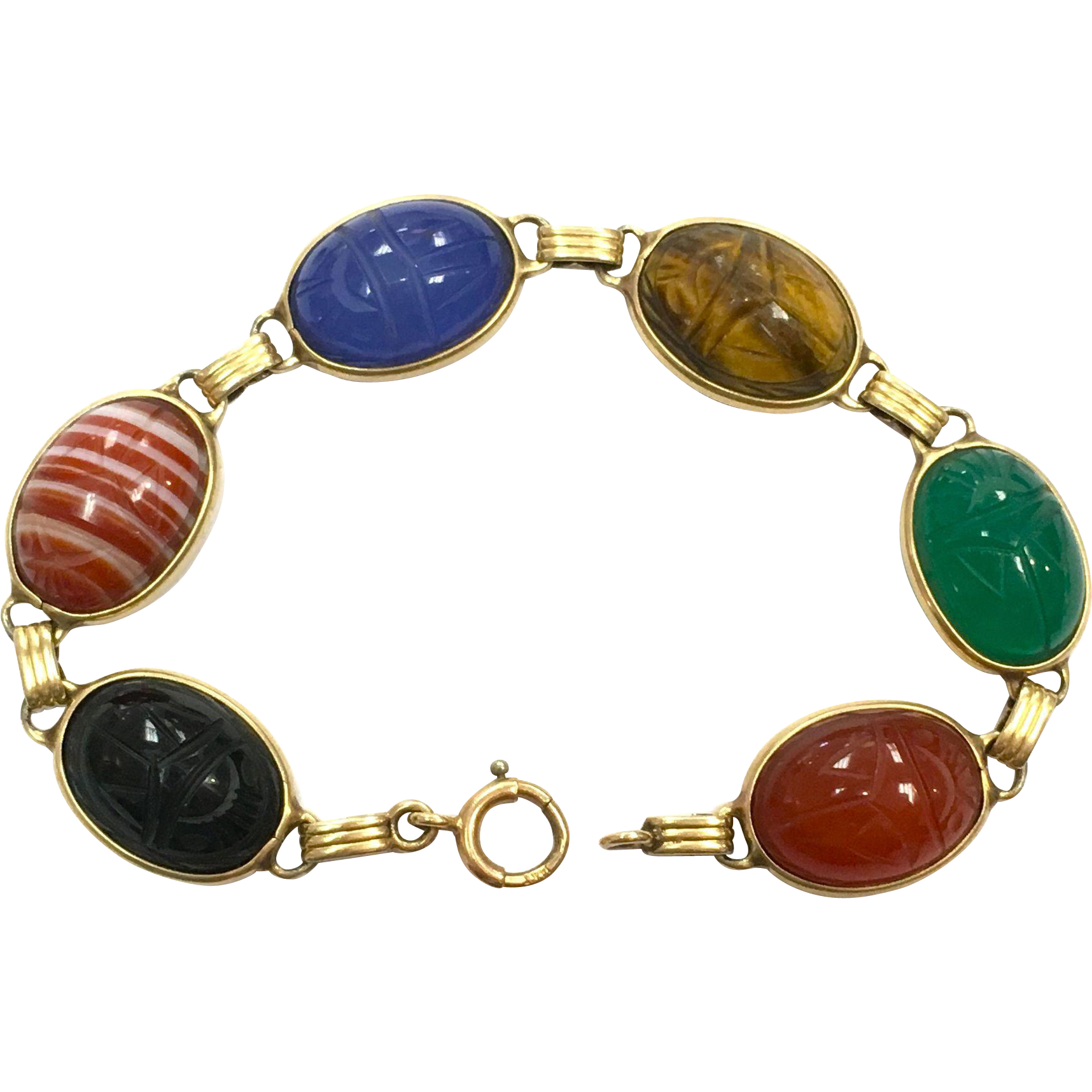 Egyptian Revival Colorful Carved Stone Scarab 14K Bracelet