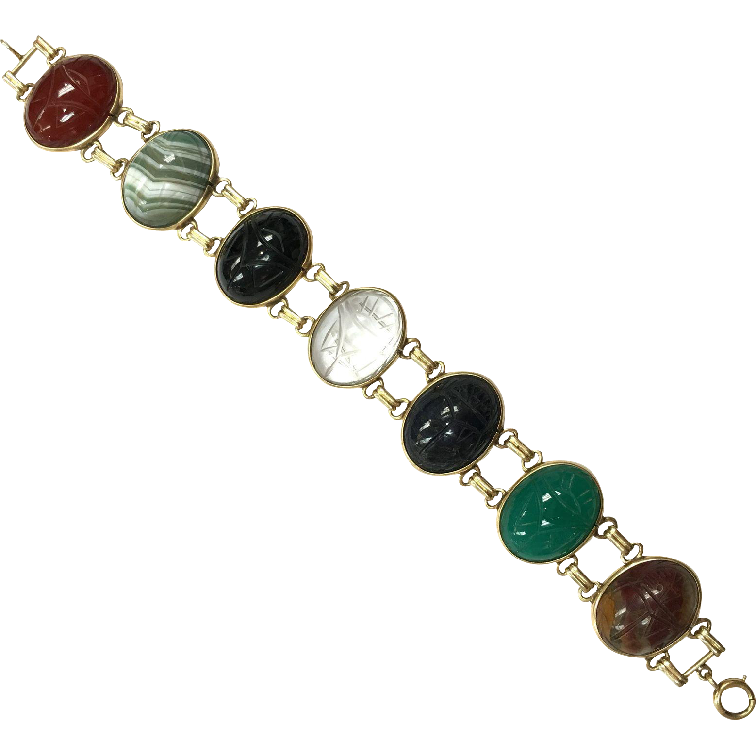 Vintage 1940s Egyptian Revival Double Banded Scarab Bracelet with Semi Precious Gemstones