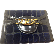 1970's Roberta di Camerino blue and black velvet, leather wallet