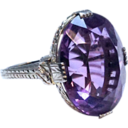 Vintage Art Deco 18k White Gold Huge Amethyst Ring with Incredible Setting