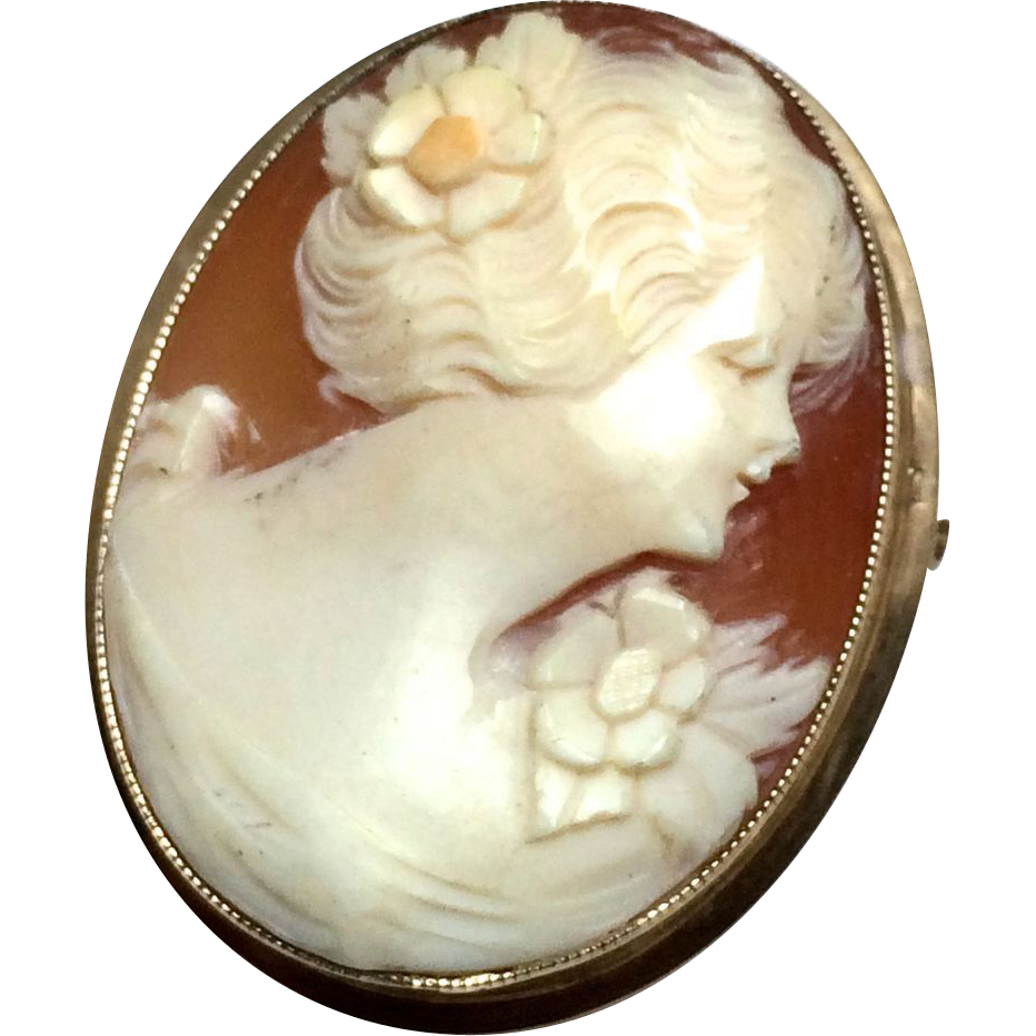 Vintage 10k Solid Yellow Gold Shell Carved Cameo Pin Brooch
