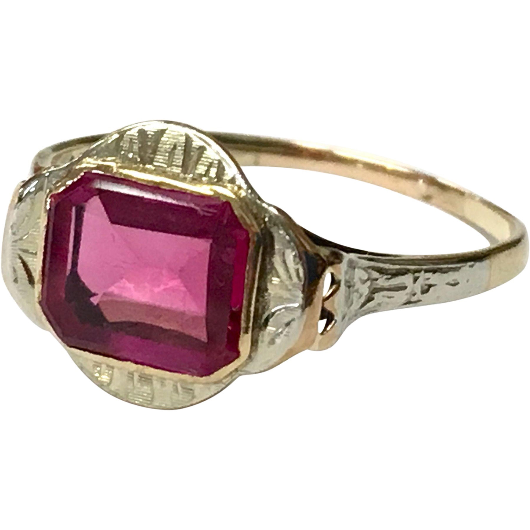 Unique antique 10K two tone gold art deco ring with red flat oblong stone and etched setting