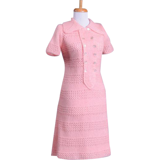 Vintage 1960s Light pink knit Mohair Collared Craft Dress