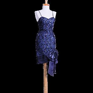 Vintage 1980s Navy Blue sequin and Ribbon Vintage Cocktail Dress