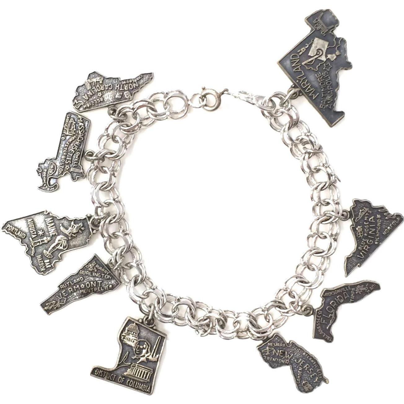 Vintage 1950s Sterling Silver East Coast States Charm Bracelet