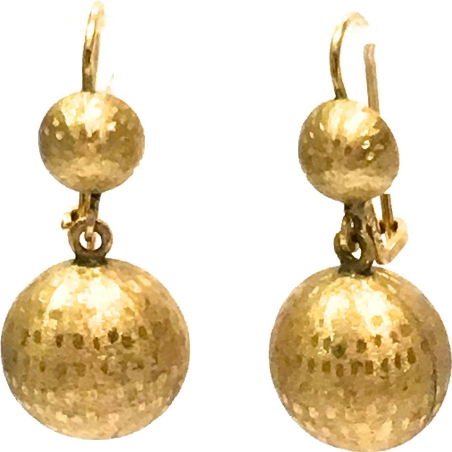 Vintage 1960s solid 14 K yellow gold dangling pierced earrings