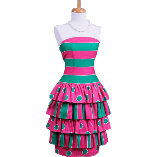 Vibrant Vintage 1980s Pink and Green Polka Dot and Striped Party Dress