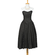 Vintage 1980s Black and White Polka Dot Cotton Strapless Sweetheart Day Dress