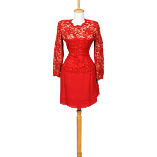Vintage 1980s Carolina Herrera Red Lace and Silk Chiffon Long Sleeved Cocktail Dress with Keyhole Back