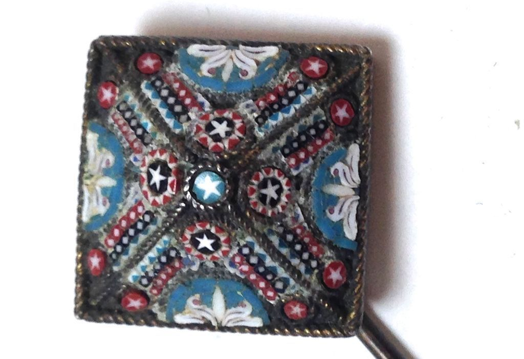 Mini Micro Mosaic Antique Stick or Hat Pin with Patriotic stars