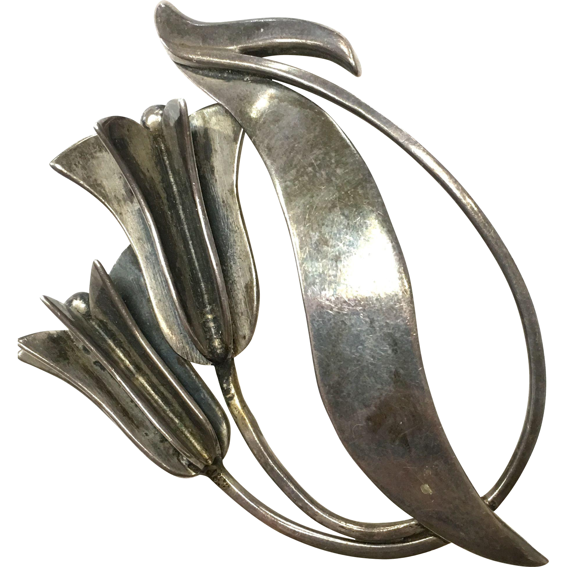 Vintage Mexican Sterling Silver Tulip Brooch