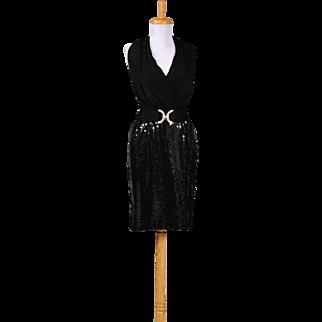 Vintage 1980s Constance Saunders for Richard Warren Black Jersey and Sequin Cocktail Dress
