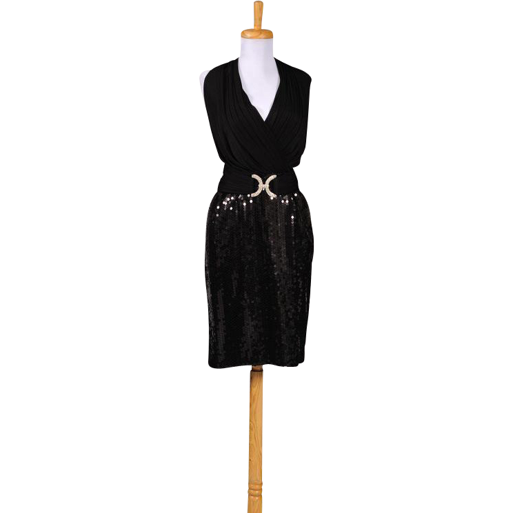 Vintage 1980s Constance Saunders for Richard Warren Black Jersey and Sequin Cocktail Dress