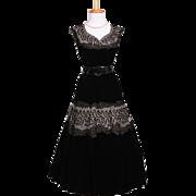 Vintage 1950s Black Soutache Embroidered Net and Black Velvet Cocktail Dress