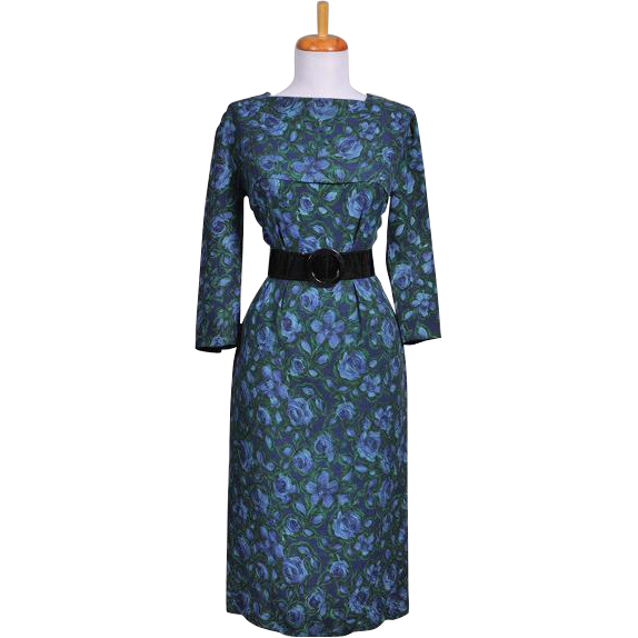 Vintage 1950s Wool Challis Wiggle Dress with blue and green floral print