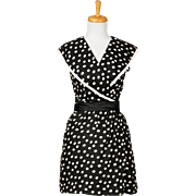 Vintage 1960s Black and White Polka Dot Cotton Piquet Sleeveless Collared Day Dress