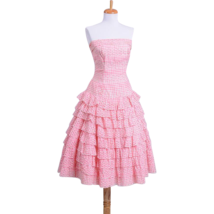 Vintage 1950s Pink and White Gingham Tiered Day Dress with scalloped edges and eyelets throughout.