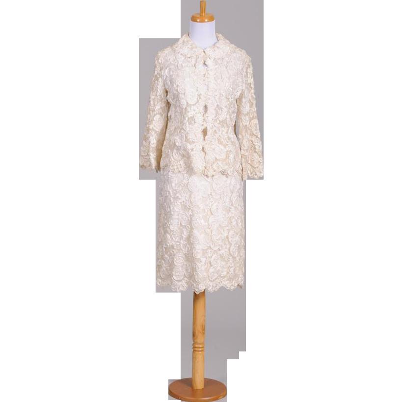 Vintage 1960s White Ribbon Embroidered Skirt and Jacket Ensemble