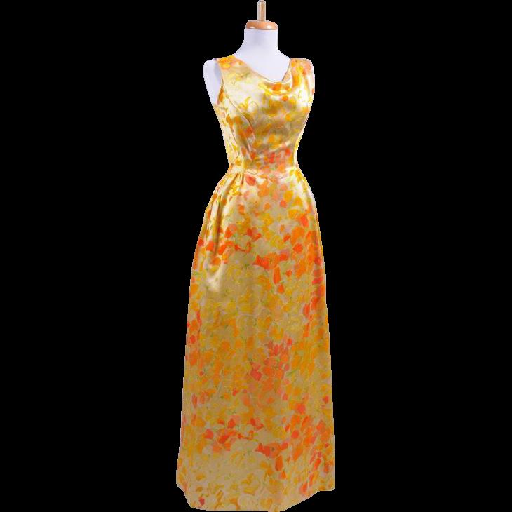 Vintage 1960s Golden Yellow Silk Velvet Flocked Floral Sleeveless Evening Gown