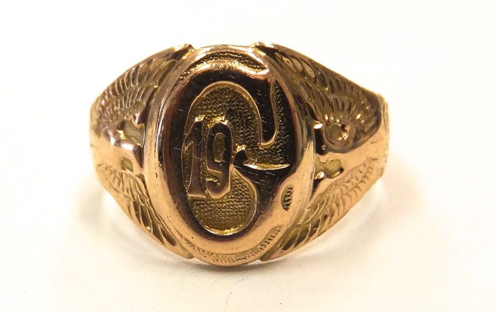 Vintage 10k solid Yellow gold Masonic signet ring size 8.5