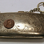 Antique English sterling silver coin case or Chatelaine purse