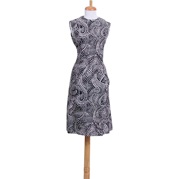 Vintage 1960s Art Deco Paisley Scooter Dress