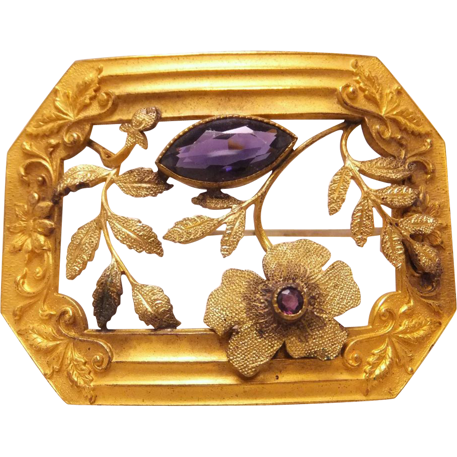Large Signed Art Nouveau Sash pin brooch with Purple stones